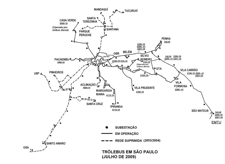 Схема троллейбусных линий по